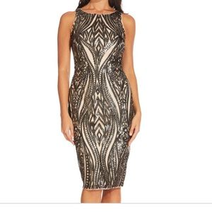 Adrianna Papell Dresses - NWT Adrianna Papell Black Champagne Sequin Dress